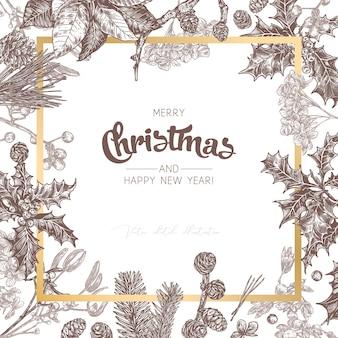 Plano de fundo ou banner feito com plantas festivas de natal, ramos de abeto, larício, abeto, poinsétia
