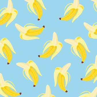 Plano de fundo padrão banana sobre fundo azul. ilustração