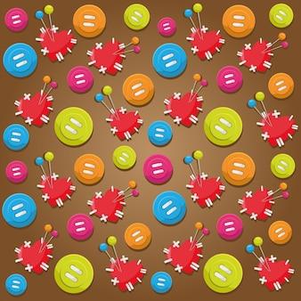 Plano de fundo padrão com elementos de botão e corações com agulhas para design gráfico
