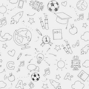 Plano de fundo padrão de educação em estilo doodle