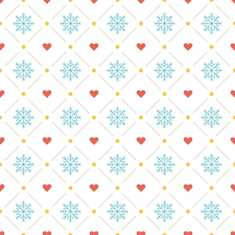 Plano de fundo padrão de natal para decoração de papel de embrulho, cartão postal e embalagens. ícones de flocos de neve e corações.