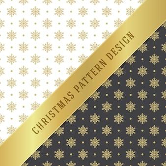 Plano de fundo padrão de natal para decoração de papel de embrulho, cartão postal e embalagens. símbolos de flocos de neve dourados.