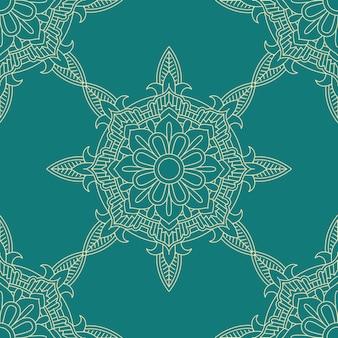 Plano de fundo padrão decorativo de telha sem costura nas cores verde-azulado e creme