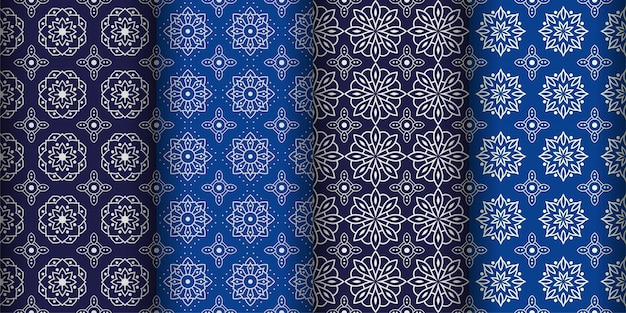 Plano de fundo padrão geométrico moderno sem costura. papel de parede batik clássico. conjunto
