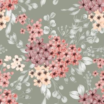Plano de fundo padrão sem emenda de flor pequena e folhas verdes