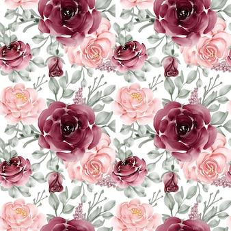 Plano de fundo padrão sem emenda de flor rosa rosa e bordô