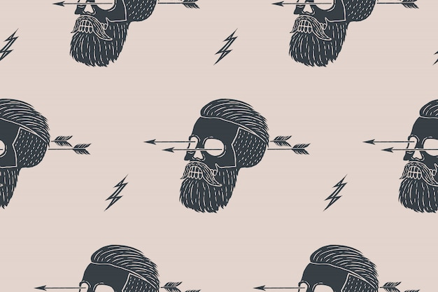 Plano de fundo padrão sem emenda de hipster de caveira vintage com seta