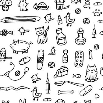 Plano de fundo padrão sem emenda. impressão do doodle sobre veterinária.