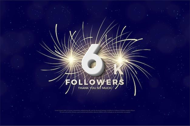 Plano de fundo para 6 mil seguidores com fogos de artifício por trás dos números