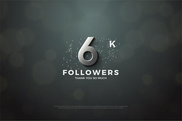 Plano de fundo para 6 mil seguidores com ilustração 3d de números de prata