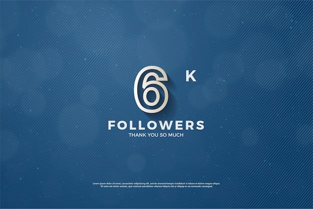 Plano de fundo para 6 mil seguidores com ilustração de contorno de número marrom