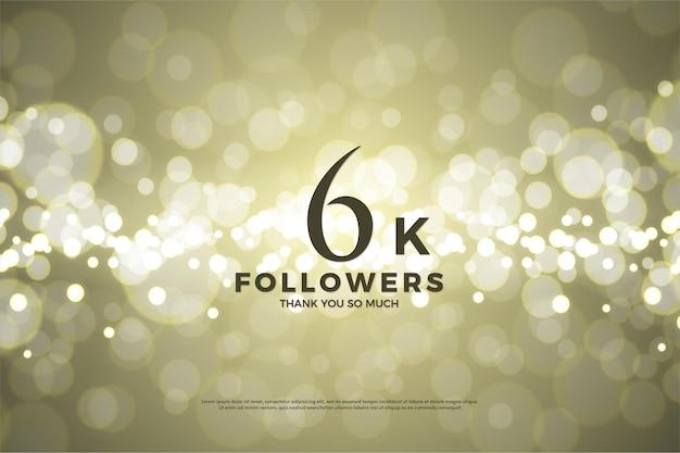 Plano de fundo para 6 mil seguidores com ilustração de fundo de papel dourado