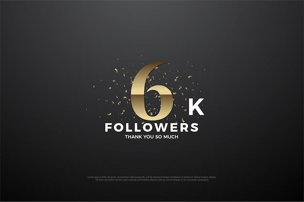 Plano de fundo para 6 mil seguidores com números dourados acastanhados graduados