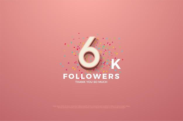 Plano de fundo para 6 mil seguidores com números e rabiscos coloridos