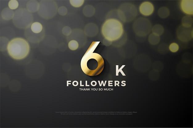 Plano de fundo para 6 mil seguidores com números truncados de sombra