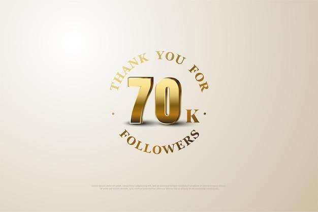 Plano de fundo para 70 mil seguidores com números dourados sombreados