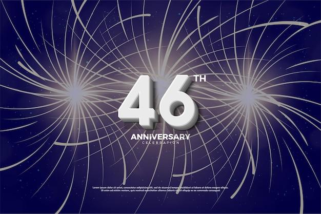 Plano de fundo para a celebração do 46º aniversário com fogos de artifício