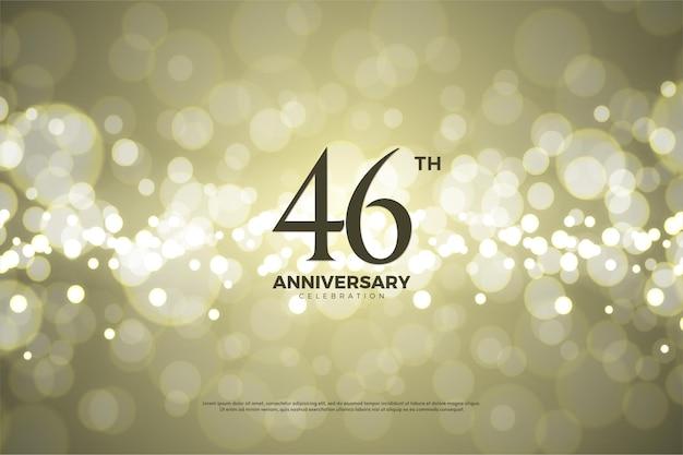 Plano de fundo para a celebração do 46º aniversário com folha de ouro