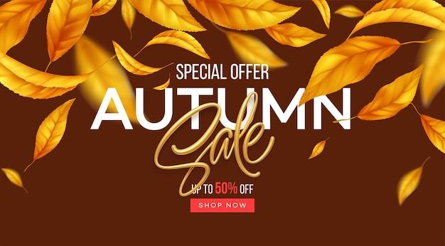 Plano de fundo para a temporada de outono de descontos. fundo de venda de outono com folhas de outono amarelas e laranja a voar. ilustração vetorial eps10
