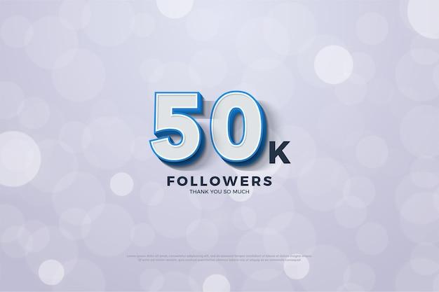 Plano de fundo para cinquenta mil seguidores com números em negrito em listras azuis