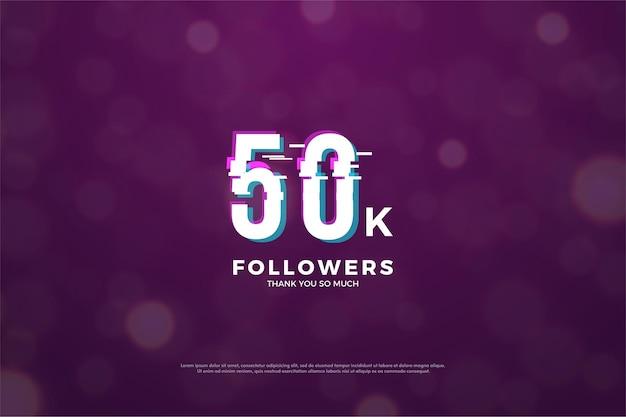 Plano de fundo para cinquenta mil seguidores com números que afetam a fatia em paz