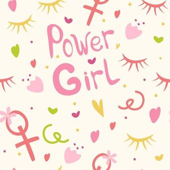 Plano de fundo para meninas a inscrição meninas poder corações flores e cílios estampa feminina