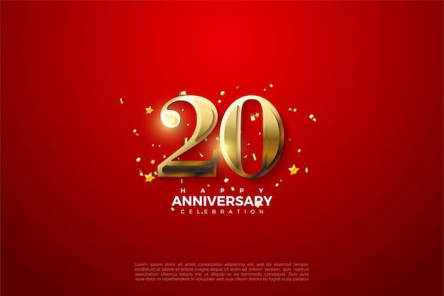 Plano de fundo para o 20º aniversário com figuras douradas brilhantes