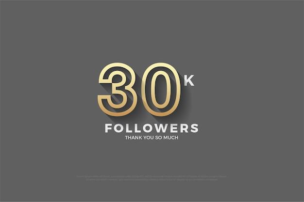 Plano de fundo para trinta mil seguidores em ouro e cinza