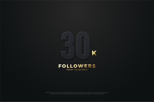 Plano de fundo para trinta mil seguidores em um tema escuro