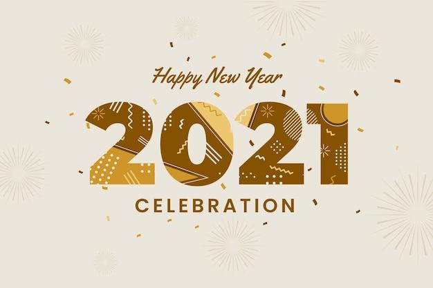 Plano de fundo plano de ano novo de 2021
