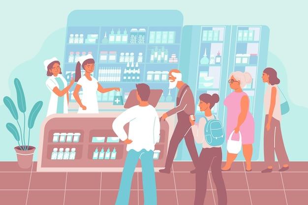 Plano de fundo plano de venda de vacina com pessoas de diferentes idades na ilustração de farmácia