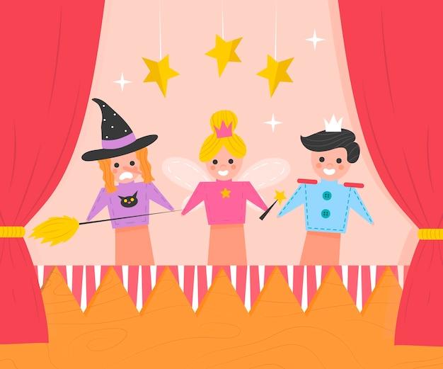 Plano de fundo plano orgânico do show de marionetes ilustrado