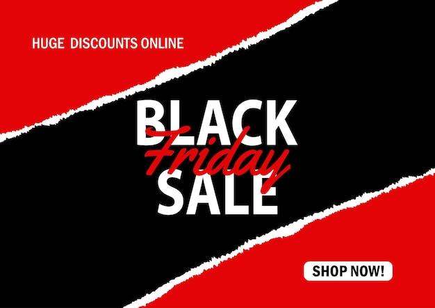 Plano de fundo preto de venda de sexta-feira com um desenho de papel rasgado