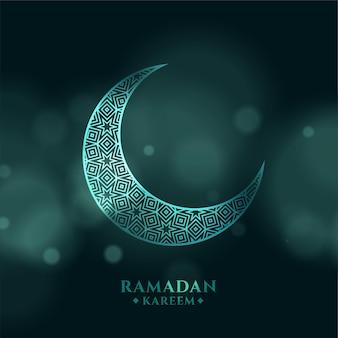 Plano de fundo ramadan kareem com lua crescente em bokeh de fundo