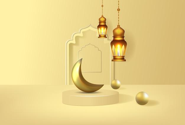 Plano de fundo ramadan kareem com pódio de luxo 3d e lanters