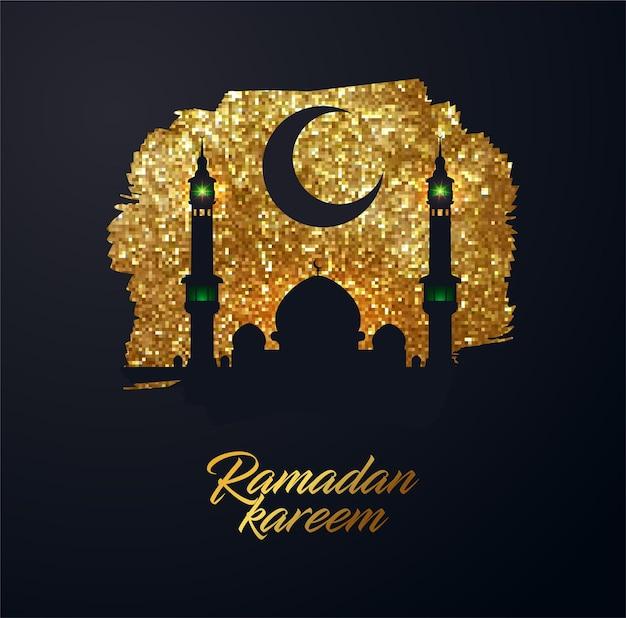 Plano de fundo ramadan kareem feito de pequenos quadrados brilhantes de ouro brilhante estilo pixel