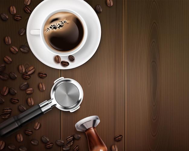 Plano de fundo realista com equipamento de barista e xícara de café na mesa de madeira