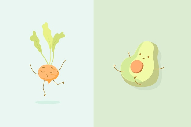 Plano de fundo redondo com personagens de cenoura e meio abacate
