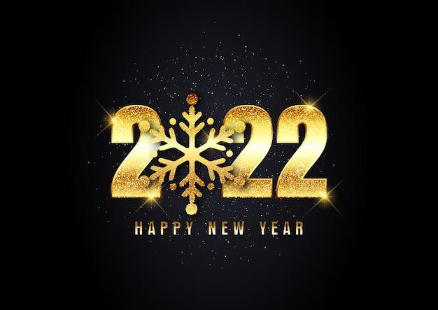 Plano de fundo reluzente de feliz ano novo com design de floco de neve