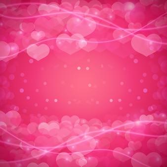 Plano de fundo romântico com corações e brilhos.