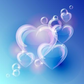 Plano de fundo romântico com formas de corações de bolha sobre fundo azul.