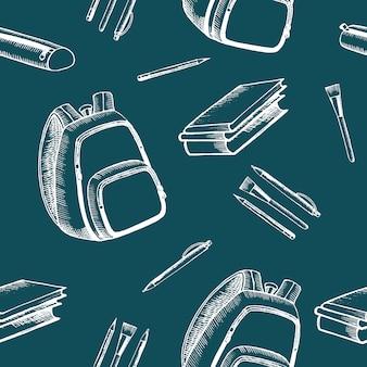 Plano de fundo sem emenda com acessórios para escola. de volta à escola. os ícones são pintados à mão em preto.