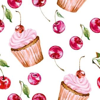 Plano de fundo sem emenda com aquarela cereja e cupcakes. ilustração vetorial