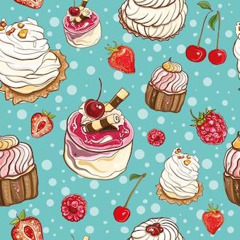 Plano de fundo sem emenda com bolos e frutas. padronizar.