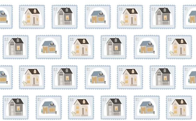 Plano de fundo sem emenda com bonitos selos e casas, ilustração para crianças.