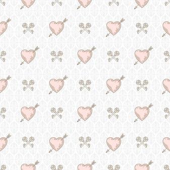 Plano de fundo sem emenda com corações perfurados por seta e chaves cruzadas - padrão para papel de parede, papel de embrulho, folha de rosto de livro, envelope dentro, etc.