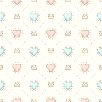 Plano de fundo sem emenda com coroa real e coração sunburst - padrão para papel de parede, papel de embrulho, folha de rosto de livro, envelope dentro, etc.