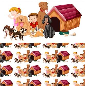 Plano de fundo sem emenda com crianças e cães
