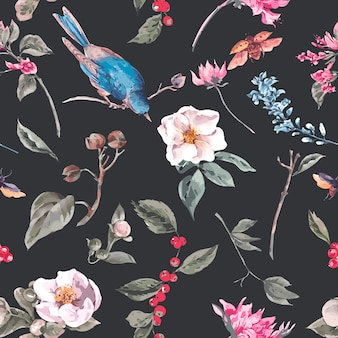 Plano de fundo sem emenda com flores cor de rosa, besouros e pássaros