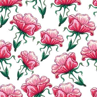 Plano de fundo sem emenda com flores rosas selvagens